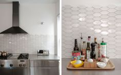 heath ceramics back splash Brooklyn carriage house renovation by Jen Turner, Heath Ceramic tiles, Remodelista Kitchen Tray, Home Decor Kitchen, New Kitchen, Home Kitchens, Hexagon Tile Backsplash, Hexagon Tiles, Kitchen Backsplash, Heath Ceramics Tile, Heath Tile