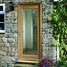 Pattern 10 Oak Pre-Hung External Door Set - oak front door factory pre-hung and pre-finished in medium oak stain, large panel of obscured toughened double glazing Wooden Glass Door, Glass Front Door, Wooden Doors, Glass Doors, Glazed External Doors, External Oak Doors, Oak Door Frames, Exterior Doors With Glass, Modern Front Door
