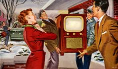 A new Motorola TV for the family, 1952. In fact, this is exactly what my best friend's family had in Akron, Ohio.