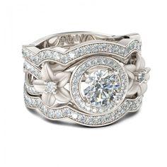 Jeulia 3PC Flower Design Halo 1.26CT Round Cut Created White Sapphire Wedding Set - Jeulia Jewelry