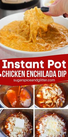 How to make the BEST Chicken Enchilada Dip in the Instant Pot - perfect for parties or a fun late night snack, this cheesy chicken dip is absolutely mouth-watering