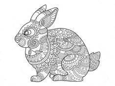 Bunny Rabbit Coloring Pages | Lop-eared Bunny Drawing by ...