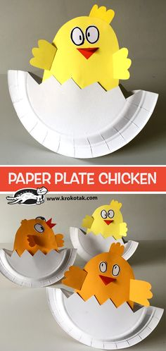PAPER PLATE CHICKEN, a diy craft post from the blog krokotak on Bloglovin' Chicken Plating, Spring Crafts For Kids, Easter Chick, Class Decoration, Paper Plates, Easter Crafts, Coloring Pages, Activities For Kids, Soccer