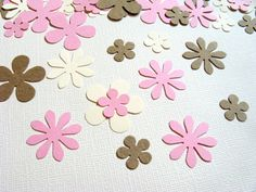 100 Punched Flowers Confetti Pink Cream Kraft by CatchSomeRaes, $1.75