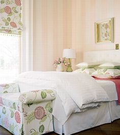 Romantic French Country Style Bedroom Decorating Idea renovating living rooms furniture furnishings design and decor bedrooms 2 decor home design direcory south africa French Country Furniture, French Country Bedrooms, French Country Decorating, Pink Striped Walls, Pink Stripes, Country Bedroom Design, Design Bedroom, Country Interior Design, French Style Homes