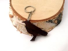 Wooden Crow Keychain, Animal Keychain, Black Crow Animal Keychain, Bird Keychain, Walnut Wood, Environmental Friendly Green materials