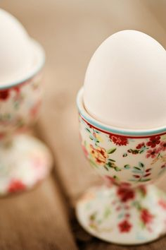 Such lovely little floral egg cups just like my grandmother used when I slept over as a child