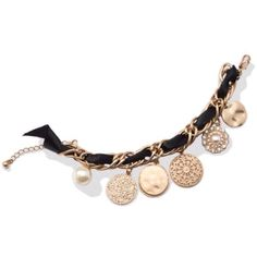 SALE Coco Charm Bracelet: Combination of gold, ribbons and charms make this a fun bracelet to wear, them up with necklace to match in separate listing... Jewelry Bracelets