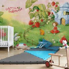 Non-woven Wallpaper - Erdbeerinchen Erdbeerfee - In the forest - Mural Wide Wallpaper Paste, Wallpaper Roll, Forest Mural, Printing Ink, Dark Walls, Open Window, Kids Room, Toddler Bed, Colours