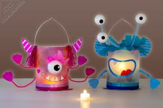 Kita Monster good lanterns from cheese cans Fun Crafts, Diy And Crafts, Arts And Crafts, Diy For Kids, Crafts For Kids, Floral Room, Farmhouse Style Decorating, Woodland Party, Diy Box