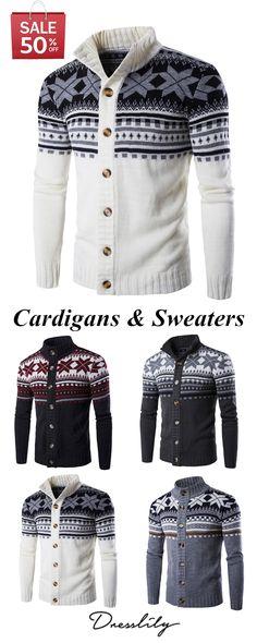 c22b5c91 Christmas Geometric Snowflake Pattern Knitted Cardigan. #dresslily  #christmas #menfashion