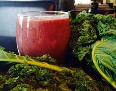 Blackberries, strawberries, grapes, kale and silken tofu with honey smoothie