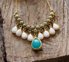 Unique Gold Bib Teal Turquoise and White Jewels Statement Necklace , Handcrafted December Birthstone Gemstone Jewelry