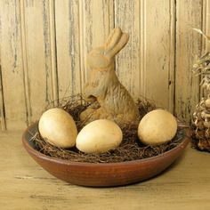 Egg Gourds and Beeswax Bunny from Teresa's Prim Treasures on Ety
