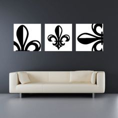 Set of 3 Fleur de Lis Canvas Wraps - Home Decor - Wall Art from SadiesCanvas on Etsy. Diy Wall Art, Home Decor Wall Art, Diy Home Decor, Bedroom Decor, Diy Fleur, Home Remodeling, Office Decor, Wrapped Canvas, Etsy