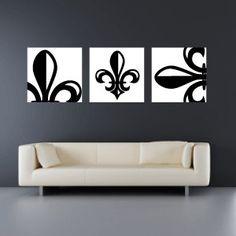 Set of 3 Fleur de Lis Canvas Wraps - Home Decor - Wall Art from SadiesCanvas on Etsy. Diy Wall Art, Home Decor Wall Art, Diy Home Decor, Bedroom Decor, Diy Fleur, Office Decor, Home Remodeling, Etsy, Canvas Art