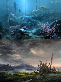 Lavender Reef and Ruined Temple of Malzula by wang2dog on deviantART