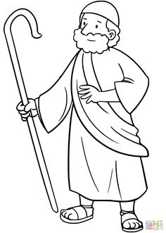 Moses | Super Coloring Mom Coloring Pages, Coloring Sheets For Kids, Animal Coloring Pages, Free Printable Coloring Pages, Coloring Books, Christian Preschool, Christian Crafts, Bible Illustrations, Bible Crafts