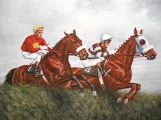 Vintage Horse Print Richard Stone Reeves Race Horse Horse Racing Art Thoroughbred Horse Derby Race Horse Equestrian Art Red Rum Lescargot