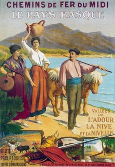 Southern France -  Basque Country Les Pays Basques , France Vintage travel poster #train #affiche #plages