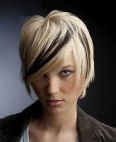 Man I wish I had the guts to have this hairstyle! - Black Streaks in Blonde Hair in Perfect Color : black streaks in blonde hair with bangs