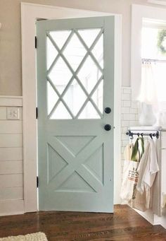 Home Remodeling Interior Feature Friday: Blue Barn and Cottage - Southern Hospitality - blue barn and cottage home tour Door Design, House Design, Design Apartment, Apartment Door, The Doors, Back Doors, Back Door Entrance, Wood Front Doors, Inside Doors