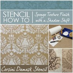 How to Stencil Easy Sponge Roller Texture and Stencil Shadow-Shift