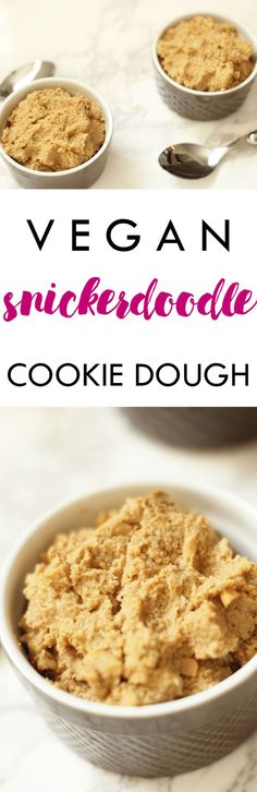 Even your mom would approve of this Vegan Dairy Free Snickerdoodle Cookie Dough! Recipe ready in minutes and serves two   Lean, Clean, & Brie
