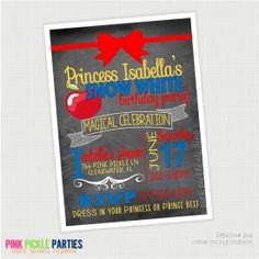 Apple Princess Chalkboard Snow White Birthday Invitation by PinkPickleParties, $10.00