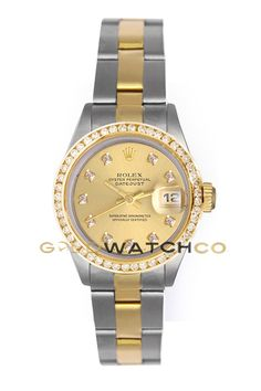 Rolex Ladys Stainless Steel & 18K Gold Datejust, Oyster Band Custom Added Champagne Diamond Dial & Diamond Bezel.