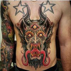 Torso Tattoos, Bad Tattoos, Skull Tattoos, Body Art Tattoos, Tattoos For Guys, Traditional Tattoo Painting, Traditional Tattoo Flash Art, Traditional Tattoo Sketches, Devil Tattoo