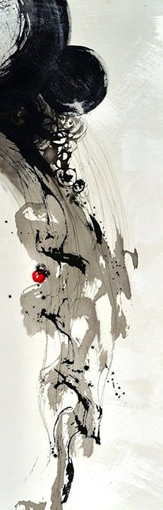 Abstract calligraphy in Sumi ink, gesso, water color by Patty Hammarstedt