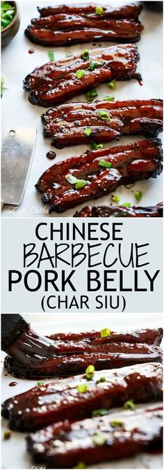sticky chinese barbecue pork belly (char siu), is one of the most popular pork dishes in chinese/cantonese cuisine and one of the most ordered dishes in restaurants. Barbecue Recipes, Grilling Recipes, Pork Recipes, Asian Recipes, Cooking Recipes, Asian Pork Belly Recipes, Chinese Pork Belly Recipe, Char Siu Pork Belly Recipe, Chinese Recipes
