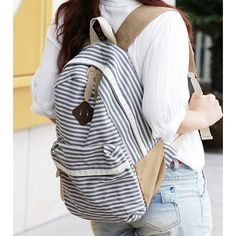 Wow! Fresh Striped School Rucksack Stripe Lace College Canvas Backpack only $29.99 from ByGoods.com! I like it so much!!