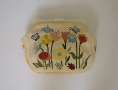 Unique 1950s Maud Hundley Needlepoint Clutch by KittyGirlVintage
