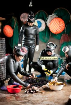 "A group of Haenyeo from the Hado Village gather in the ""women divers house"" to clean the day's catch of sea urchin, abalone and conch. Jeju, South Korea"