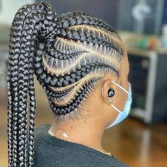 Big Cornrow Braids, Cornrow Ponytail, Braided Cornrow Hairstyles, Twist Cornrows, Braids Hairstyles Pictures, Braided Hairstyles For Black Women, Ponytail Styles, African Braids Hairstyles, Braids For Black Hair