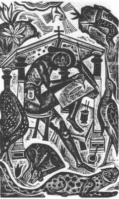 """""""The Artist"""" by David Jones, 1927 (wood engraving) Black And White Illustration, Graphic Illustration, David Jones Artist, Wood Engraving, Linocut Prints, Black Art, Wood Print, Printmaking, Pet Birds"""