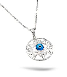 Sterling Silver Rhodium Plated Light Blue Evil Eye Intricate Outlined Necklace 16 Inch Plus 1 Inch Chain - Jewelry For Her