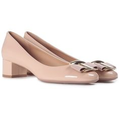 Salvatore Ferragamo Ninna Patent-Leather Pump ($470) ❤ liked on Polyvore featuring shoes, pumps, nude, salvatore ferragamo pumps, nude patent shoes, patent leather pumps, patent shoes and rubber sole shoes