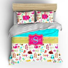 Custom Personalized Foxy in Pink Bedding Toddler Twin by redbeauty