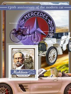 anniversary of the modern car (Carl Benz Carl Benz and his partner Max Rose) Carl Benz, Maldives, Stamps, Anniversary, Rose, Modern, The Maldives, Seals, Pink