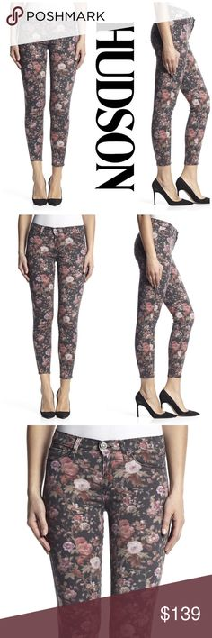 """NWT Hudson Midrise Super Skinny Ankle Jeans Kick off fall/ winter with these beautiful Floral print super skinny jeans by Hudson. Pair them with your favorite solid color top and boots! Waist 28""""/ inseam 28""""/ leg opening 10"""". Made of 43% Viscose/ 33% cotton/ 17% lyocell/ 5% polyester/ 2% elastan.   Reasonable offers considered through offer button only.  NO TRADES Hudson Jeans Jeans Skinny"""