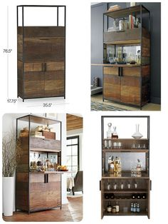 "Clive Bar Cabinet $2,499.00  Overall Dimensions Width: 35.5"" Depth: 17.75"" Height: 76.5""  Drop Drawer (Top One) Width: 32.5"" Depth: 16"" Height: 7""  Distance B/T Shelf Pins Height: 2.5""  Drop Drawer (Middle) Width: 32.5"" Depth: 16"" Height: 16.5""  Top Opening Height: 16""  Bottom Cabinet Width: 33.5"" Depth: 14.25"" Height: 27.5"""