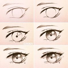 Very simple eye tutorial? You guys have been asking for so long for a tutorial so here ya go~ . from left to right  1. Base sketch: very simple, just make it quick  2. Darken the lines to give it more definition. Top lashes are darker then the bottom 3.  Dem eyelashes  use the feathering technique for this. Add some little details like the highlights and iris along the way~ 4. simple shade: like super simple I only use one gradient. Also feel free to experiment with shading here 5…