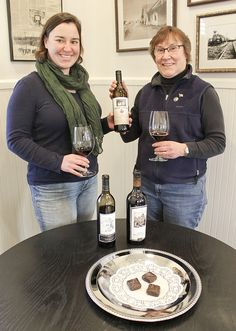 In anticipation of Red Wine and Chocolate weekend, Feb. 13-15, Côte Bonneville winemaker Kerry Shiels and her mother, Kathy Shiels sample a taste of the winery's award winning wines. The second weekend in February also marks the first anniversary of the tasting room's opening on East Edison Ave. #WAwine #Wine #YakimaValley