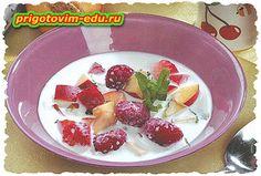 Суп из нектаринов с ягодами на молоке