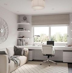 home decor diy detail are available on our internet site. Check it out and you will not be sorry you did. #homedecordiy Guest Room Office, Home Office Space, Home Office Design, Home Office Decor, House Design, Bedroom Office Combo, Office Room Ideas, Office Ideas For Home, Home Office White Desk