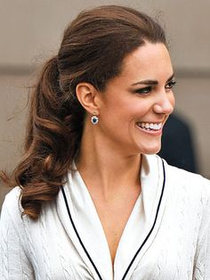 Kate Middleton sporting a classic ponytail.