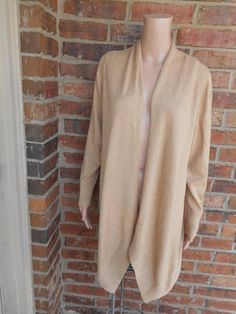CHICO'S Shawl Collar Sweater Size 2 L Open Cardigan Top Long ...